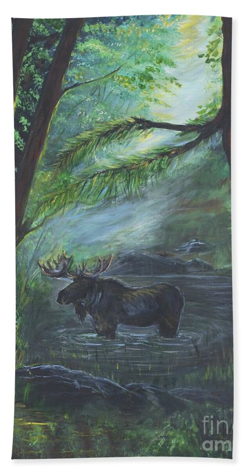 Bull Moose Hand Towel featuring the painting Bull Moose Pond by Leslie Allen