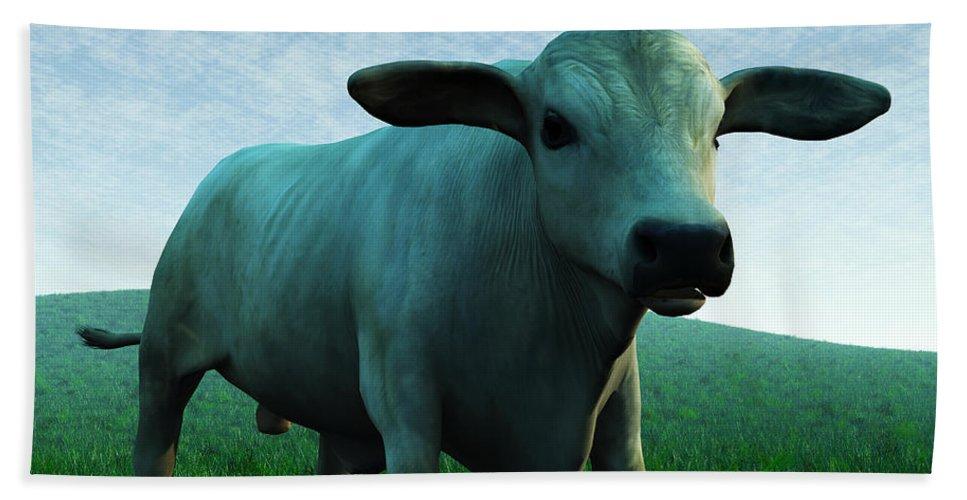 Brahman Bath Sheet featuring the digital art Bull... by Tim Fillingim