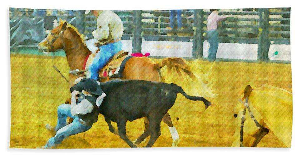 Bull Doggers Hand Towel featuring the photograph Bulldoggin Cowboys by Alice Gipson