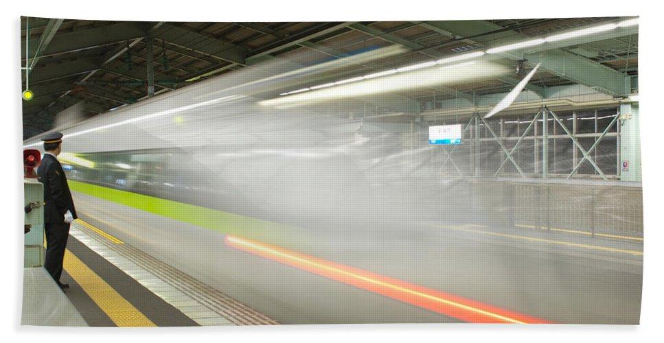 Shinkansen Hand Towel featuring the photograph Bullet Train by Sebastian Musial