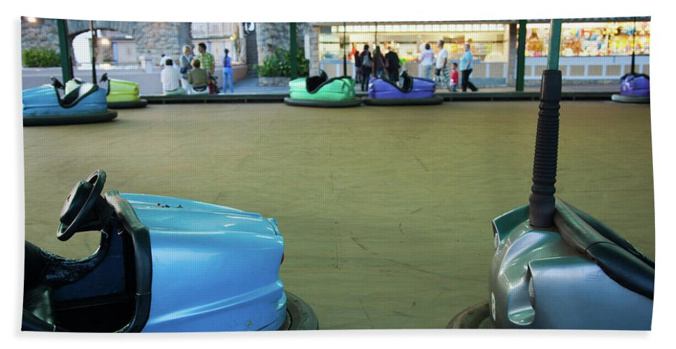 Photography Bath Sheet featuring the photograph Bumper Cars At Monte Igueldo Amusement by Panoramic Images