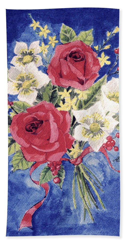 Bunch Of Flowers Hand Towel featuring the painting Bunch Of Flowers by Alban Dizdari