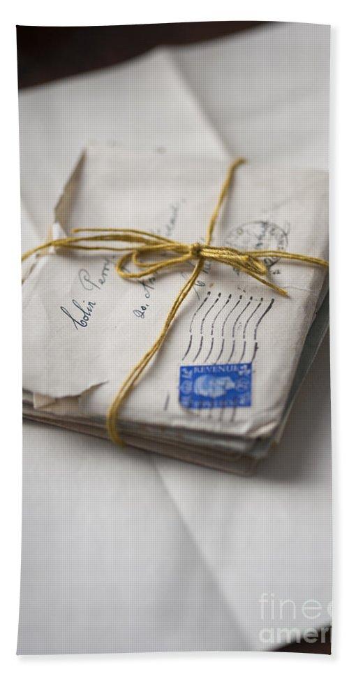 Letter Bath Sheet featuring the photograph Bundle Of Vintage Letters by Lee Avison