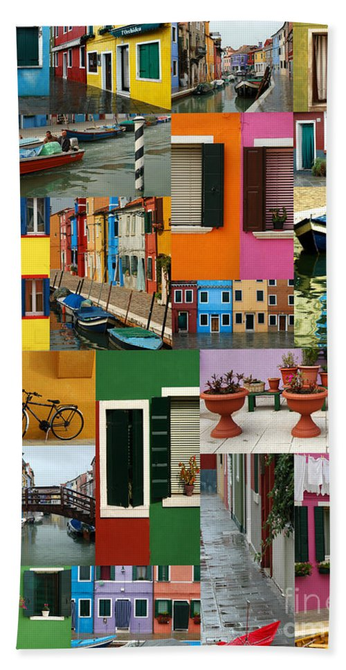 Burano Hand Towel featuring the photograph Burano Italy Collage by Mike Nellums