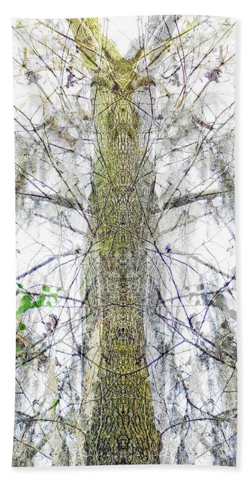 Abstract Bath Sheet featuring the digital art Burden Center Spirit Tree by Lizi Beard-Ward