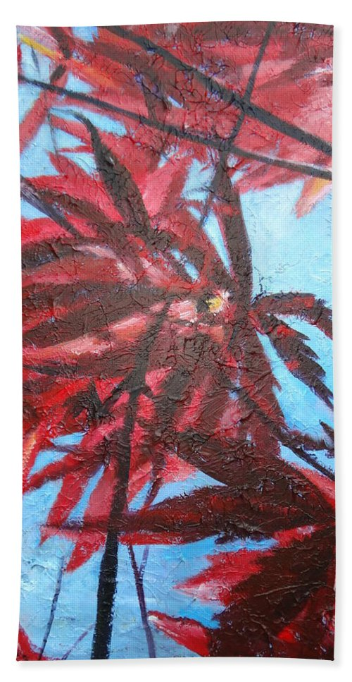 Japanese Maple Leaves Bath Sheet featuring the painting Burgundy Beauty by Sheila Holland