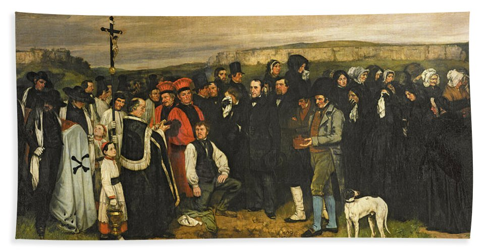 Burial At Ornans 1849 50 Oil On Canvas Hand Towel For