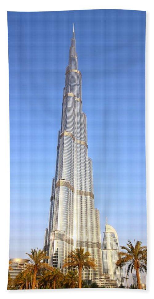Burj Bath Towel featuring the photograph Burj Khalifa by FireFlux Studios
