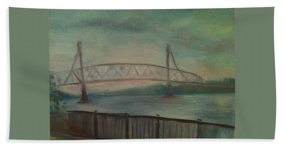Bridge Hand Towel featuring the painting Burlington Bristol Bridge by Sheila Mashaw