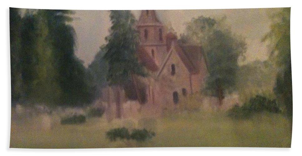 Church Bath Towel featuring the painting Burlington NJ Church by Sheila Mashaw