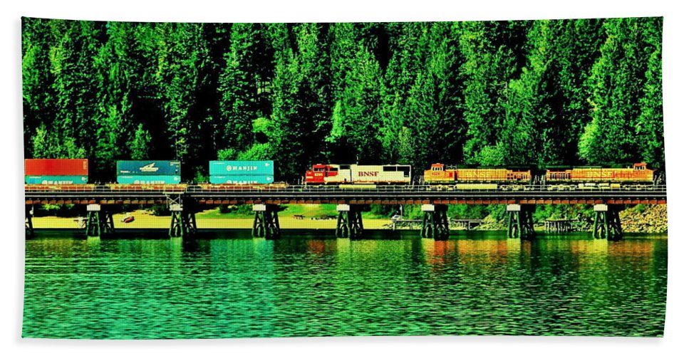 Train Bath Sheet featuring the photograph Burlington Northern by Benjamin Yeager