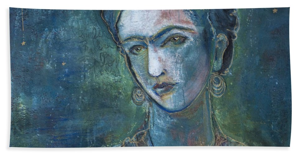 Frida Kahlo Hand Towel featuring the painting Burn It Blue Frida by Laurie Maves ART