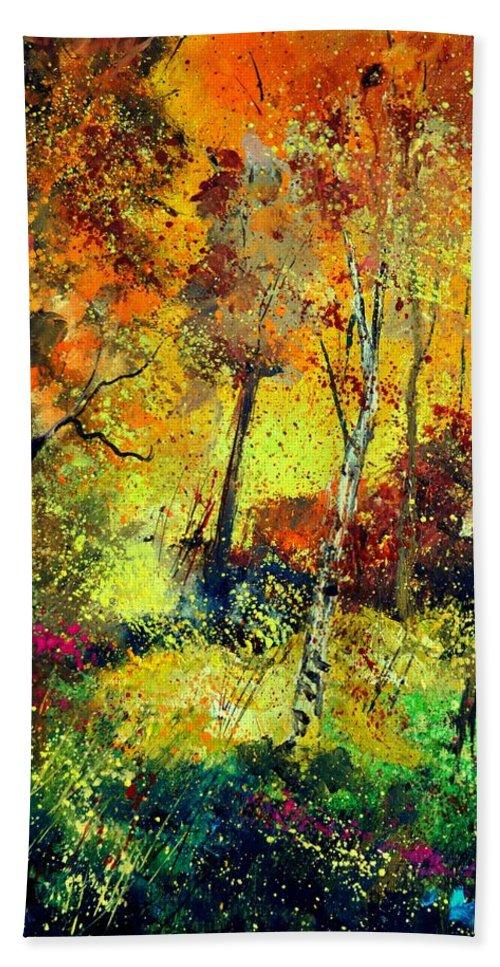 Landscape Bath Towel featuring the painting Burning autumn by Pol Ledent