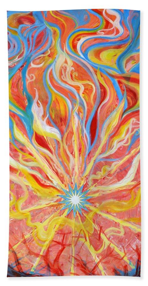 Biblical Bath Sheet featuring the painting Burning Bush by Anne Cameron Cutri