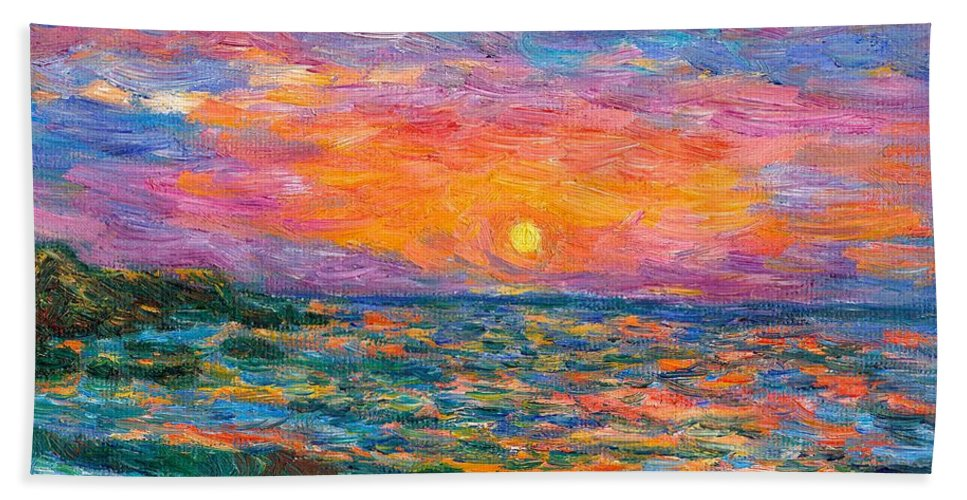 Ocean Bath Sheet featuring the painting Burning Shore by Kendall Kessler