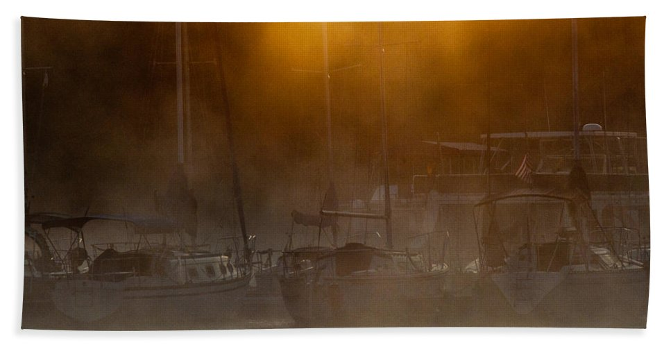 Cherokee Hand Towel featuring the photograph Burning Through The Fog by Douglas Stucky