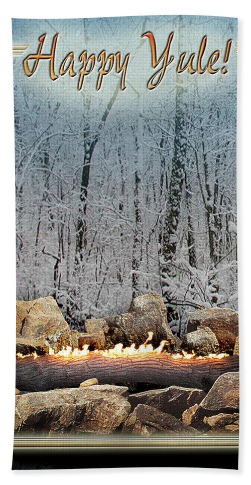 Yule Bath Towel featuring the digital art Burning Yule Log by Melissa A Benson