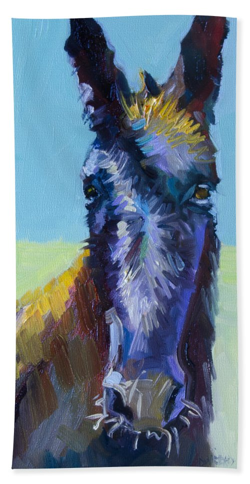 Burro Bath Towel featuring the painting Burro Stare by Diane Whitehead