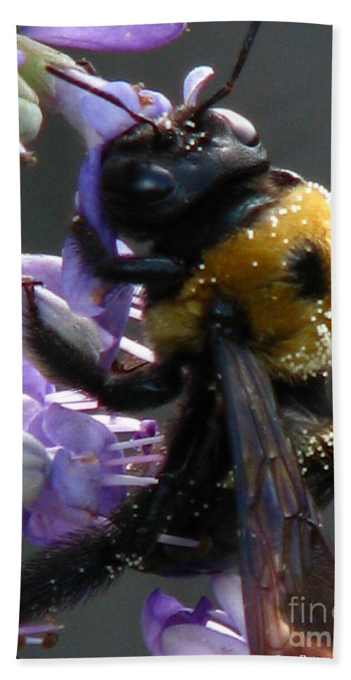 Patzer Hand Towel featuring the photograph Busy Bee by Greg Patzer