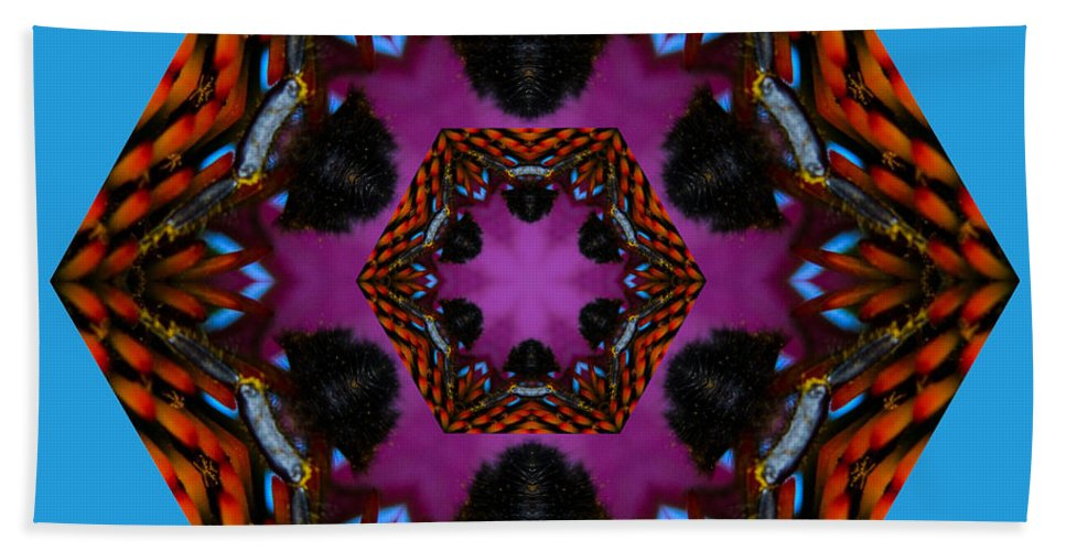 Busy Bee Hand Towel featuring the photograph Busy Bee Kaleidoscope by Judy Wolinsky