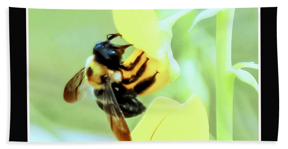 Busy Bee Bath Sheet featuring the photograph Busy Bee by Mechala Matthews
