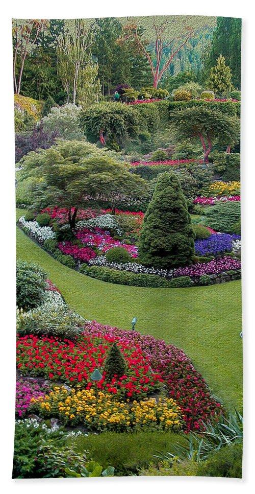 Flower Bath Sheet featuring the photograph Butchart Gardens by John M Bailey