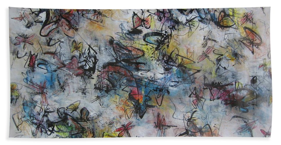 Butterfly Painting Hand Towel featuring the painting Butterflies And Dragonflies by Seon-Jeong Kim