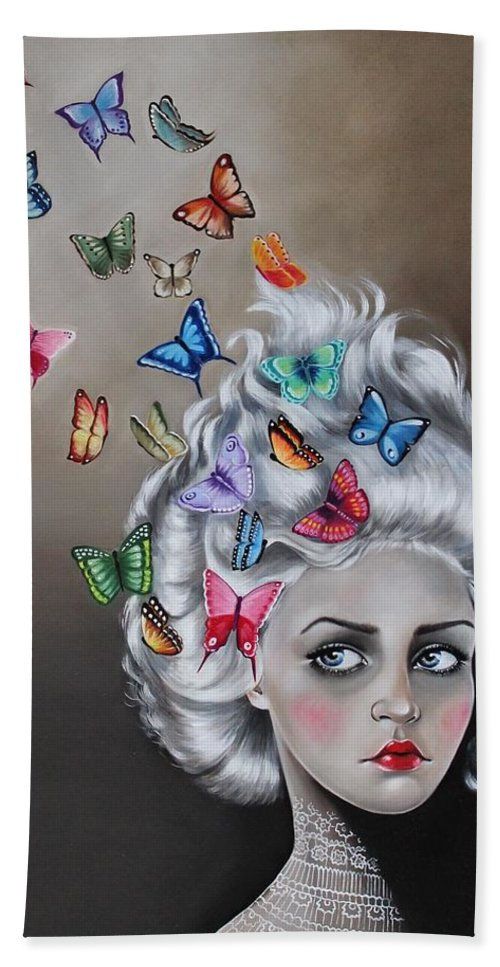 Fantasy Bath Sheet featuring the painting Butterflies In The Thoughts by Rebecca Tecla