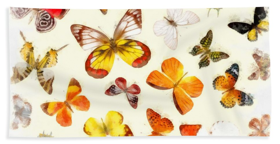 Butterfly Bath Sheet featuring the photograph Butterflies Square by Edward Fielding