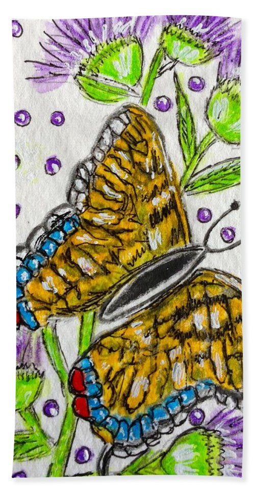 Butterfly Hand Towel featuring the painting Butterfly And Thistles by Kathy Marrs Chandler