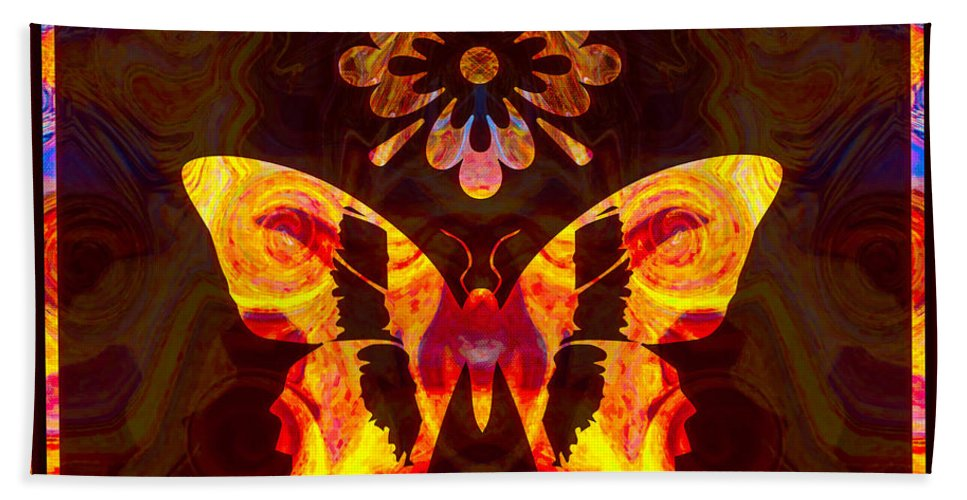 4x3 Bath Sheet featuring the painting Butterfly By Design Abstract Symbols Artwork by Omaste Witkowski