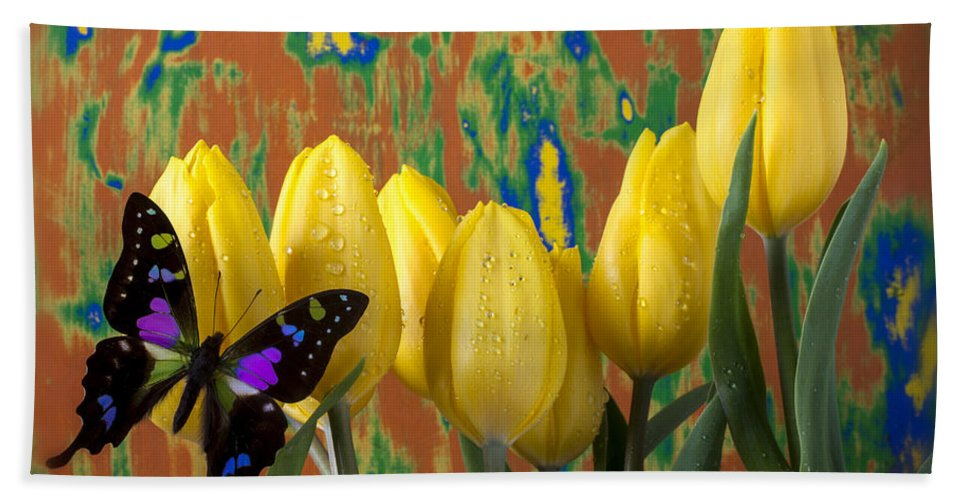 Black Purple Hand Towel featuring the photograph Butterfly Dreams by Garry Gay