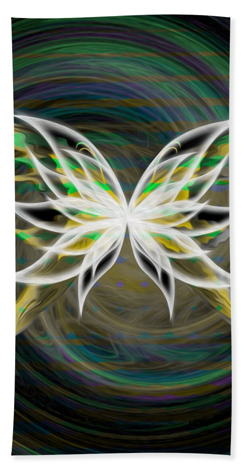Green Hand Towel featuring the digital art Butterfly Glow by Teri Schuster