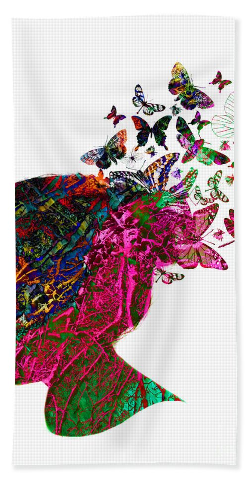 Butterfly Hand Towel featuring the photograph Butterfly Hair by Gillian Singleton