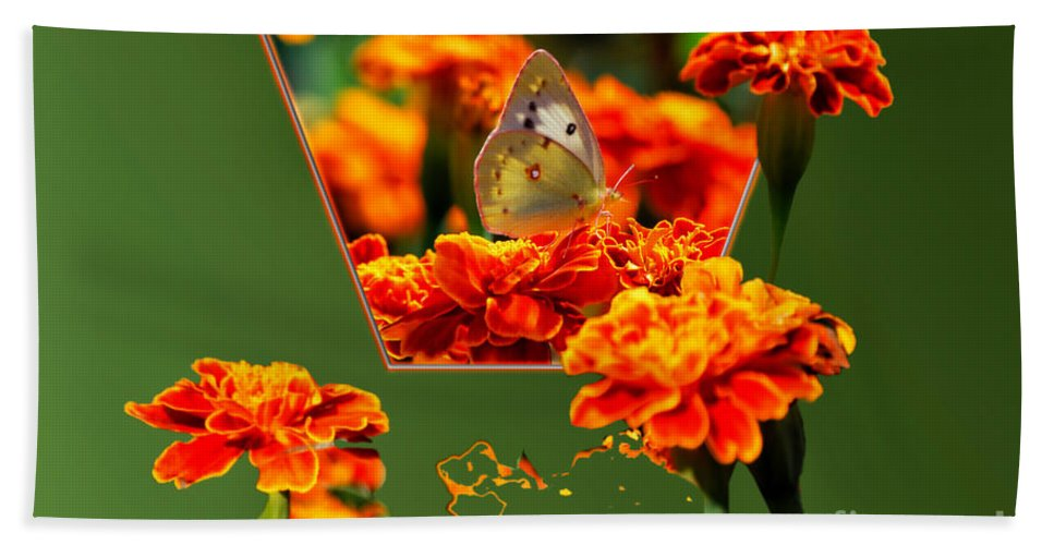 Butterfly Bath Sheet featuring the photograph Butterfly In A Sea Of Orange Floral 02 by Thomas Woolworth