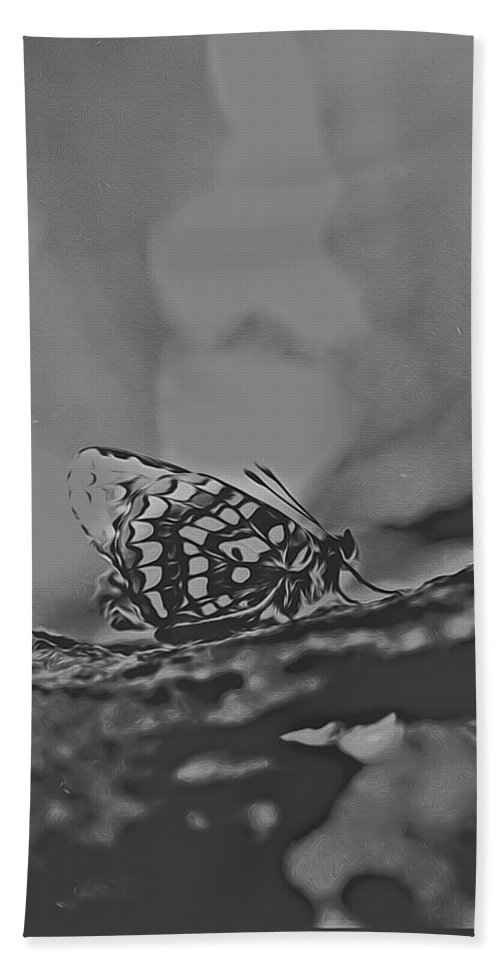 Hand Towel featuring the digital art Butterfly In Black And White by Cathy Anderson
