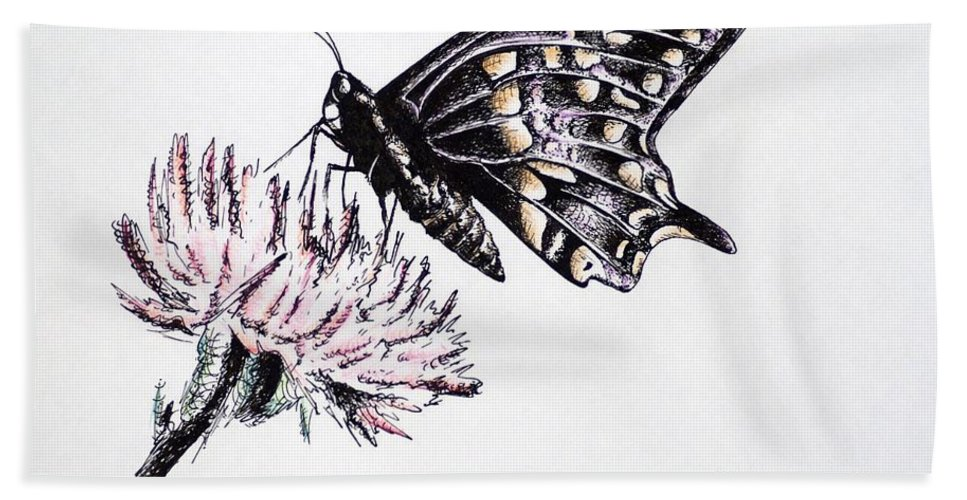 Butterfly Hand Towel featuring the drawing Butterfly by Katharina Filus