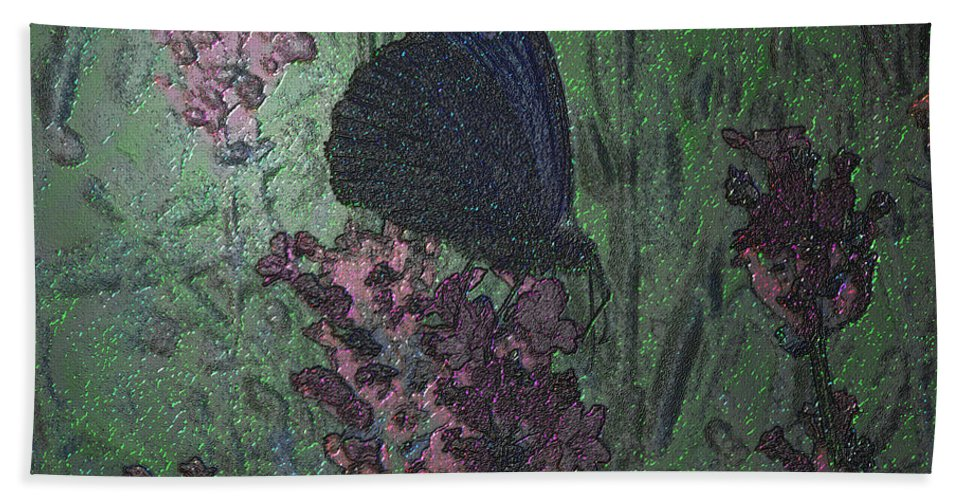 Art Bath Sheet featuring the mixed media Butterfly by Mando Xocco