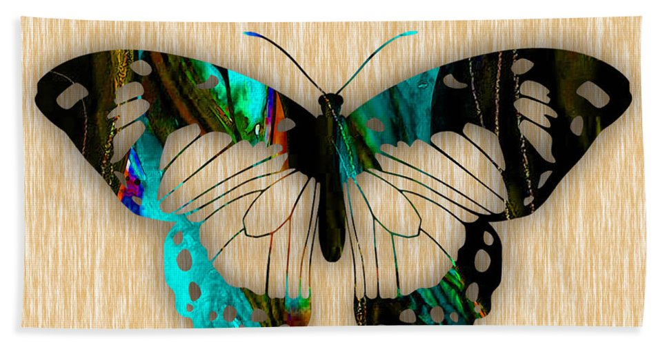 Butterfly Hand Towel featuring the mixed media Butterfly by Marvin Blaine