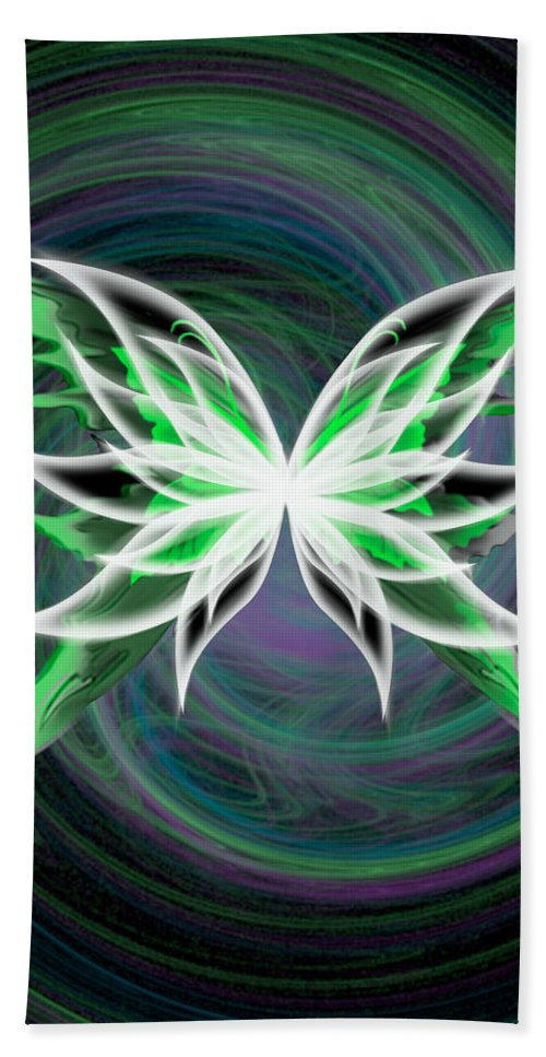 Green Hand Towel featuring the digital art butterfly Motion by Teri Schuster