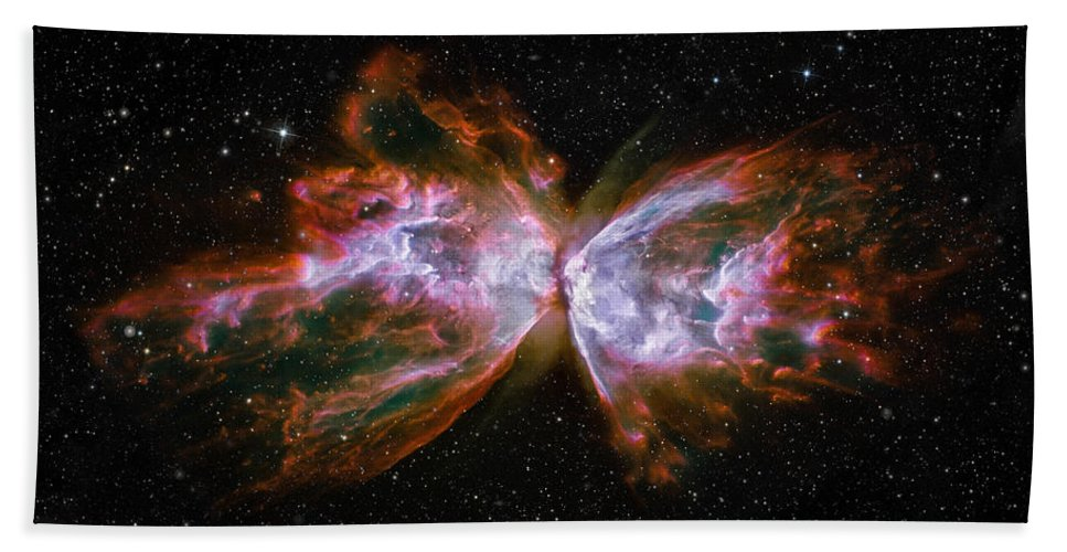 3scape Hand Towel featuring the photograph Butterfly Nebula Ngc6302 by Adam Romanowicz