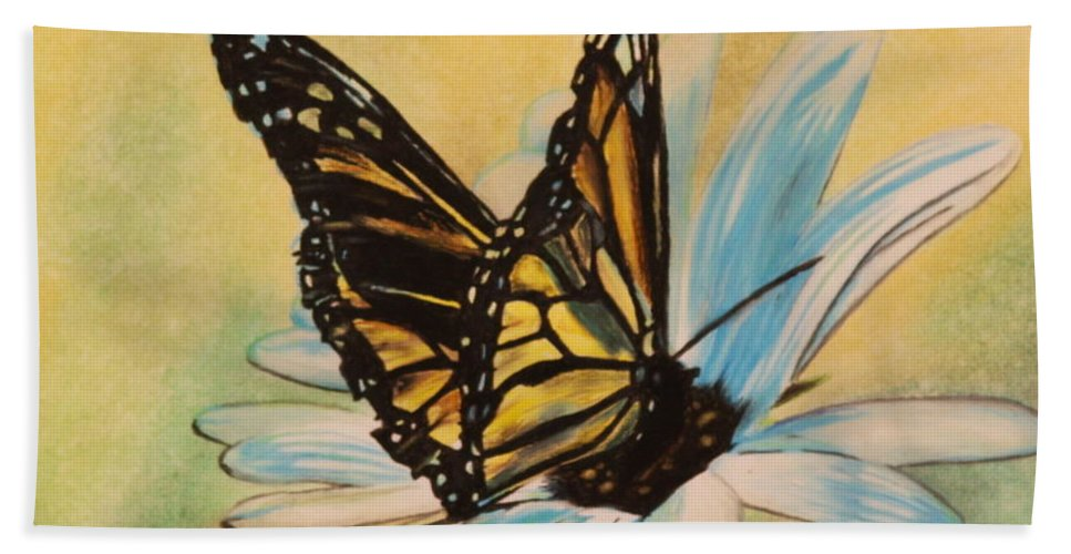 Butterly Hand Towel featuring the drawing Butterfly On Flower by Michelle Miron-Rebbe