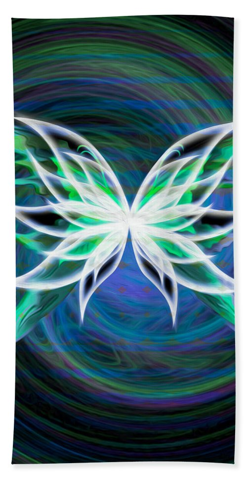 Blue Hand Towel featuring the digital art Butterfly Swirl by Teri Schuster