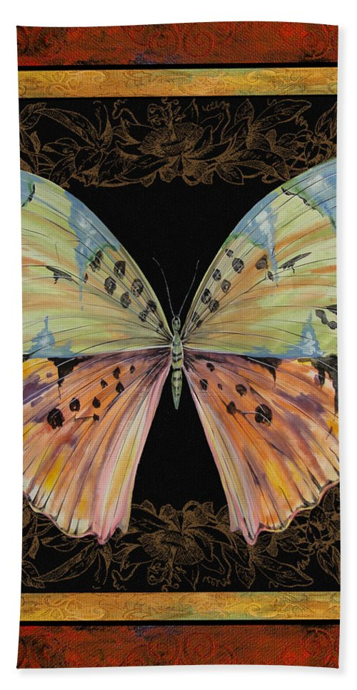 Butterfly Bath Sheet featuring the painting Butterfly Treasure-sofia by Jean PLout