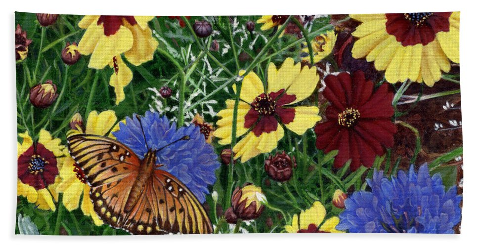 Spring Hand Towel featuring the painting Butterfly Wildflowers Garden Oil Painting Floral Green Blue Orange-2 by Walt Curlee