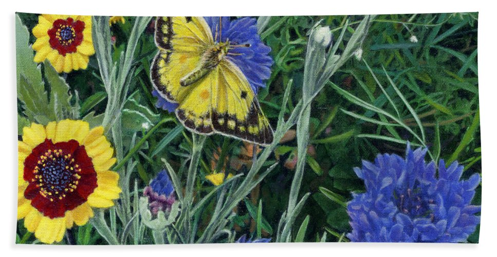 Garden Hand Towel featuring the painting Butterfly Wildflowers Spring Time Garden Floral Oil Painting Green Yellow by Walt Curlee