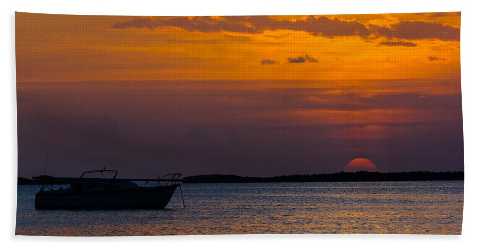 Anchored Bath Sheet featuring the photograph Buttonwood Sound by Ed Gleichman