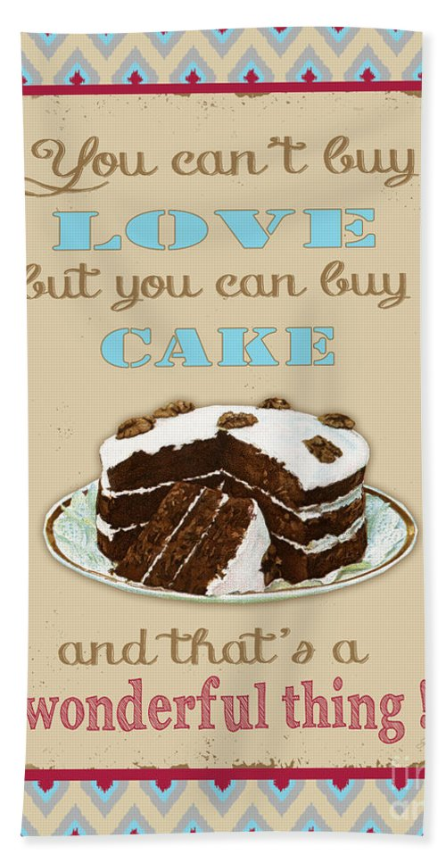 Digital Art Bath Sheet featuring the digital art Buy Cake Typography by Jean Plout