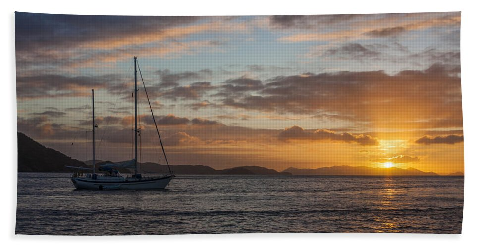 3scape Hand Towel featuring the photograph Bvi Sunset by Adam Romanowicz