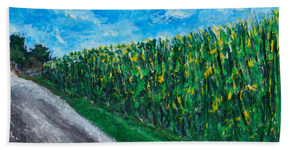Cornfields Hand Towel featuring the painting By An Indiana Cornfield The Road Home by Alys Caviness-Gober